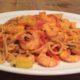 Spaghetti met knoflookgarnalen, Romatomaatjes en courgette